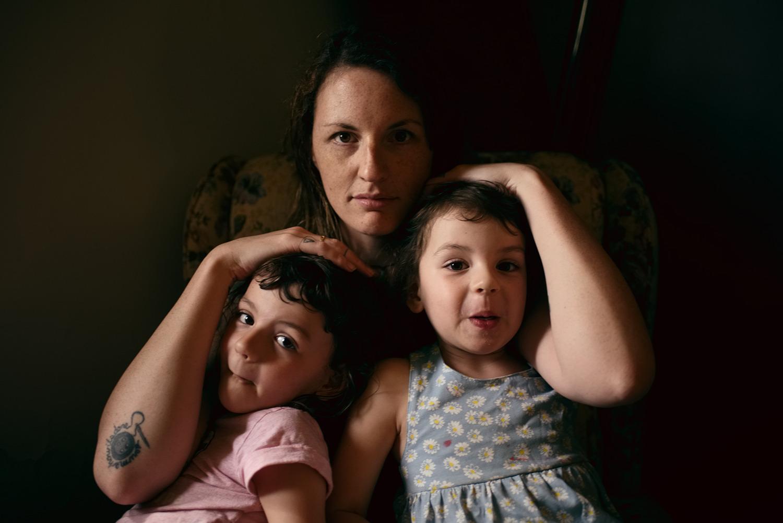 Kallie with her kids Miette and Nadja, Sydney, 2016