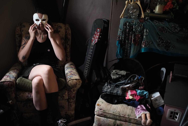 Kallie in her living room, Sydney, 2016
