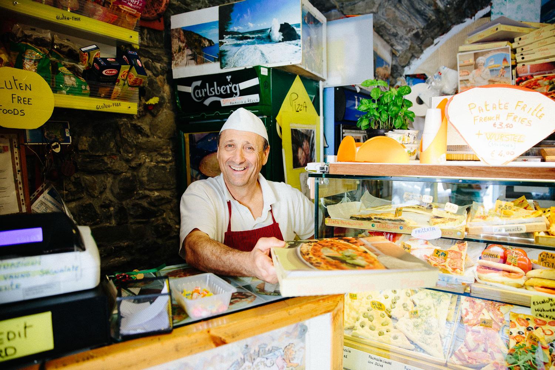 Pizzabaker i Manarola, Italia