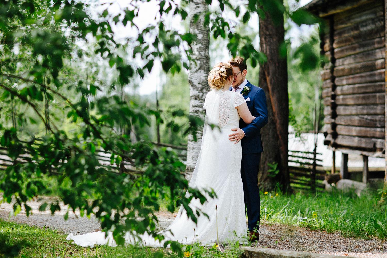 First look fotografering av brudepar