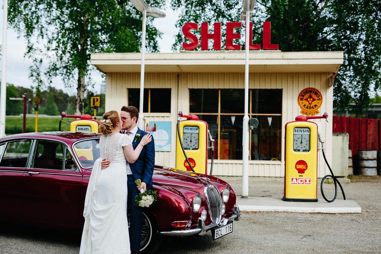 Gammel bensinstasjon museum bryllupsbilde