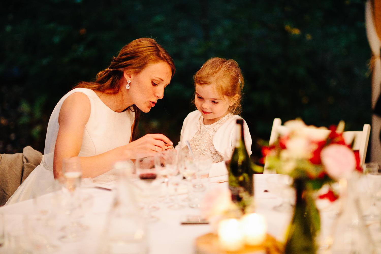 Brud og brudepike under bryllupsmiddagen.