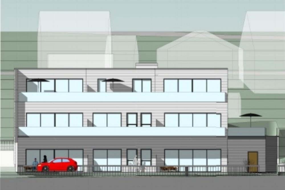 Fasade på det nye Leilighetsbygg.