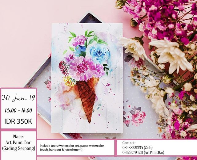 Hi join our Watercolor  Workshop with  @zulazula ! 🎨🌸 . You Will learn, how to mixing colors watercolor,  Beginners are very welcome to attend this class, we believe that everyone can do art. See you at class ! . IDR 350.000/person (include watercolor set, watercolor paper, modul, refreshment) . Contact Reza : 081295794211 (@arti.paintbar ) 😄