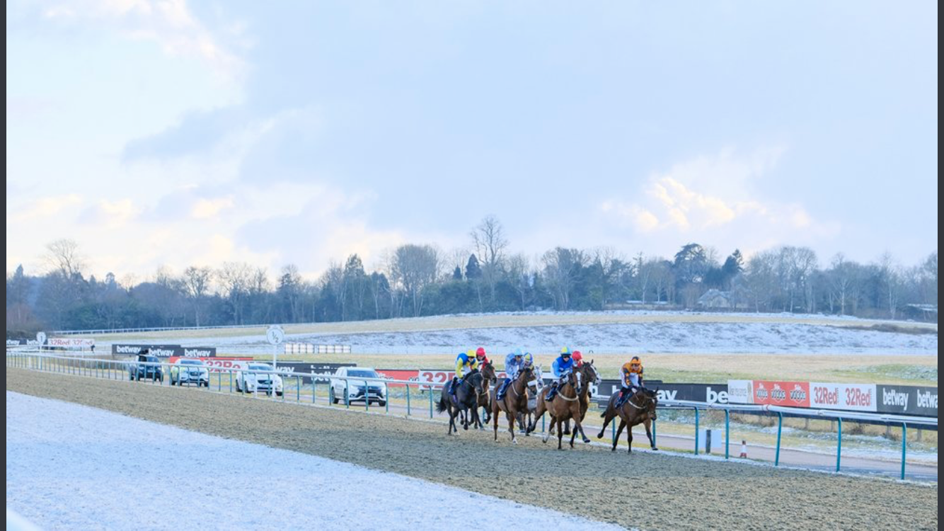 Action from Lingfield Racecourse.