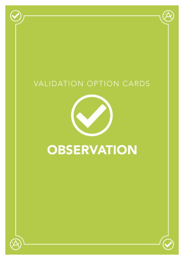 Card Deck: Validation Option Cards