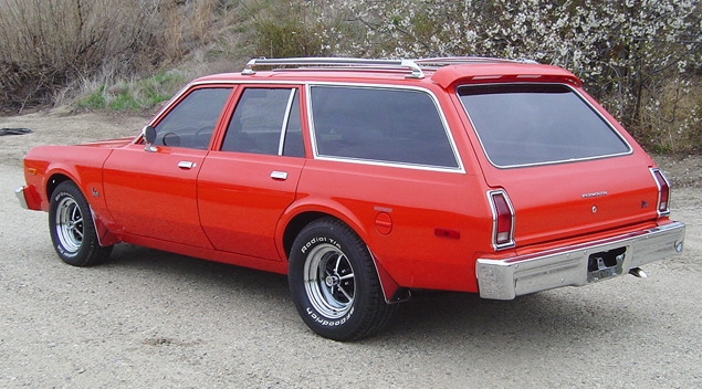 A 1976 Plymouth Volare station wagon.  Ours was turquoise blue.
