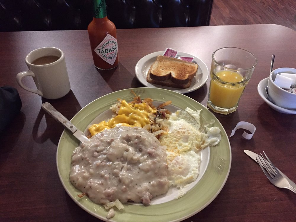Steak & eggs smothered in sausage gravy, served with hash browns.  All the calories and cholesterol you will need for a busy day.