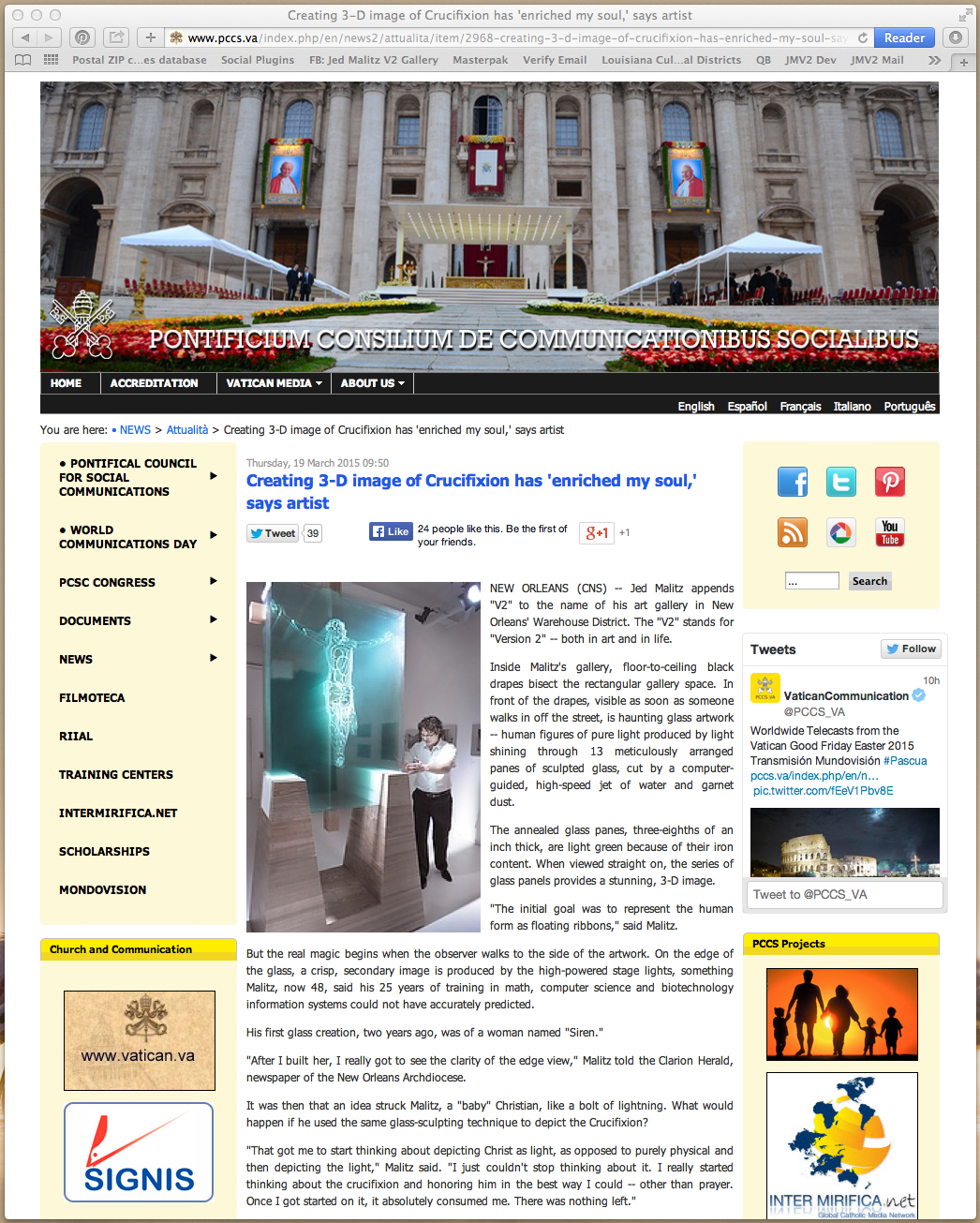 Screen capture of the Vatican Social Media homepage (www.pccs.va) on March 19, 2015.