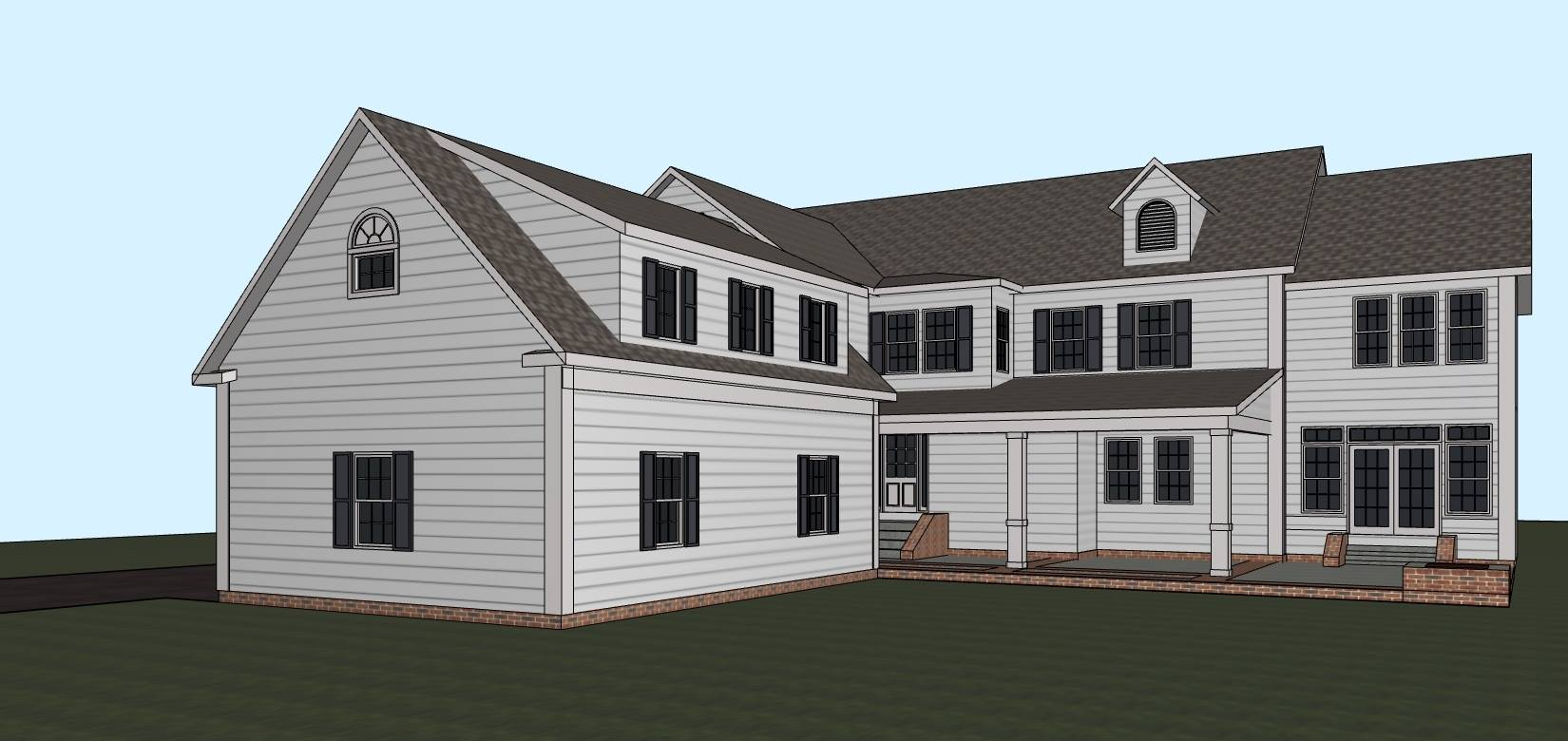 Conceptual rendering of garage & 2nd-story, kids, wing addition along with new, covered, patio area. Courtesy   Kime Design LLC