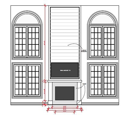 New fireplace design to accommodate a flat screen TV. Carries over the shiplap element from the foyer.