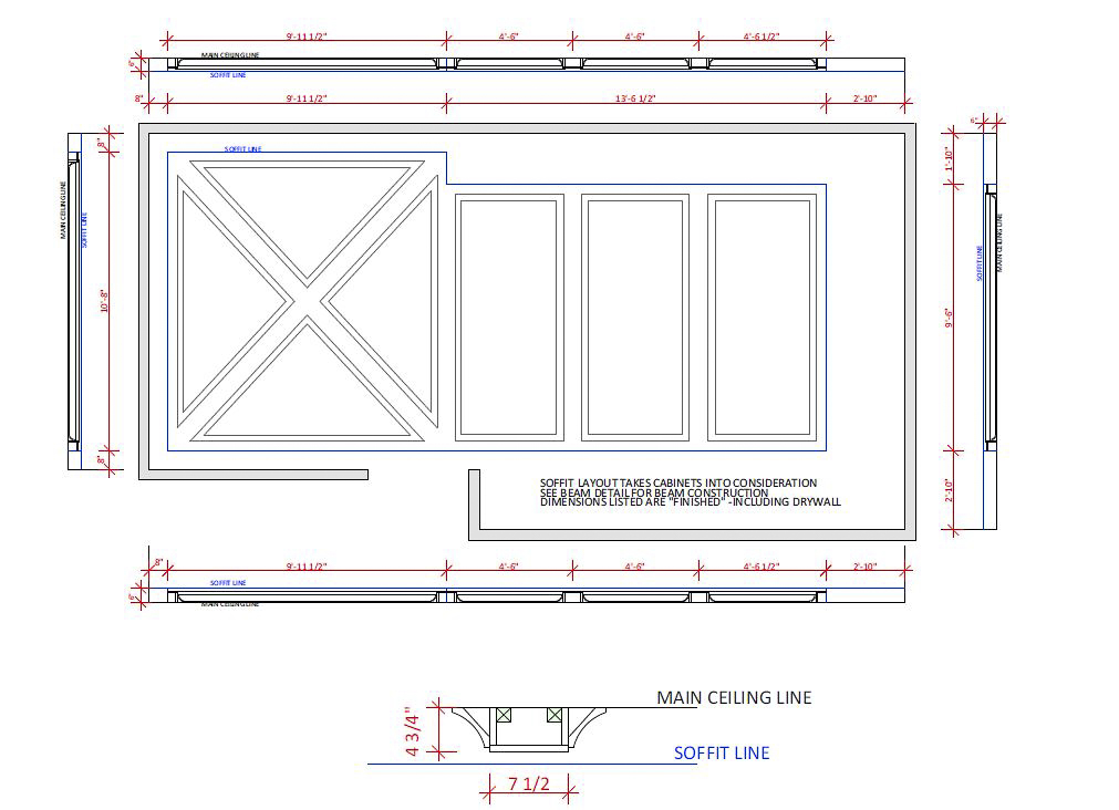 Plan for kitchen coffered ceiling.