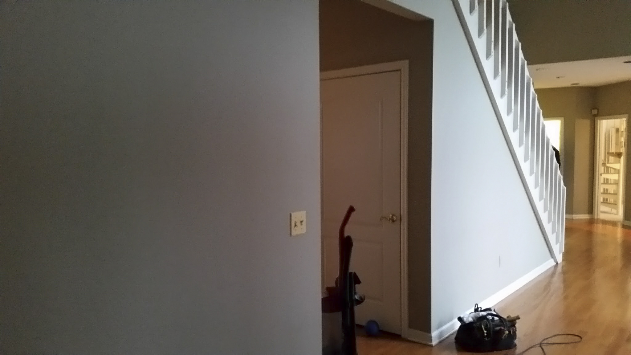 Existing cased opening and painted foyer.