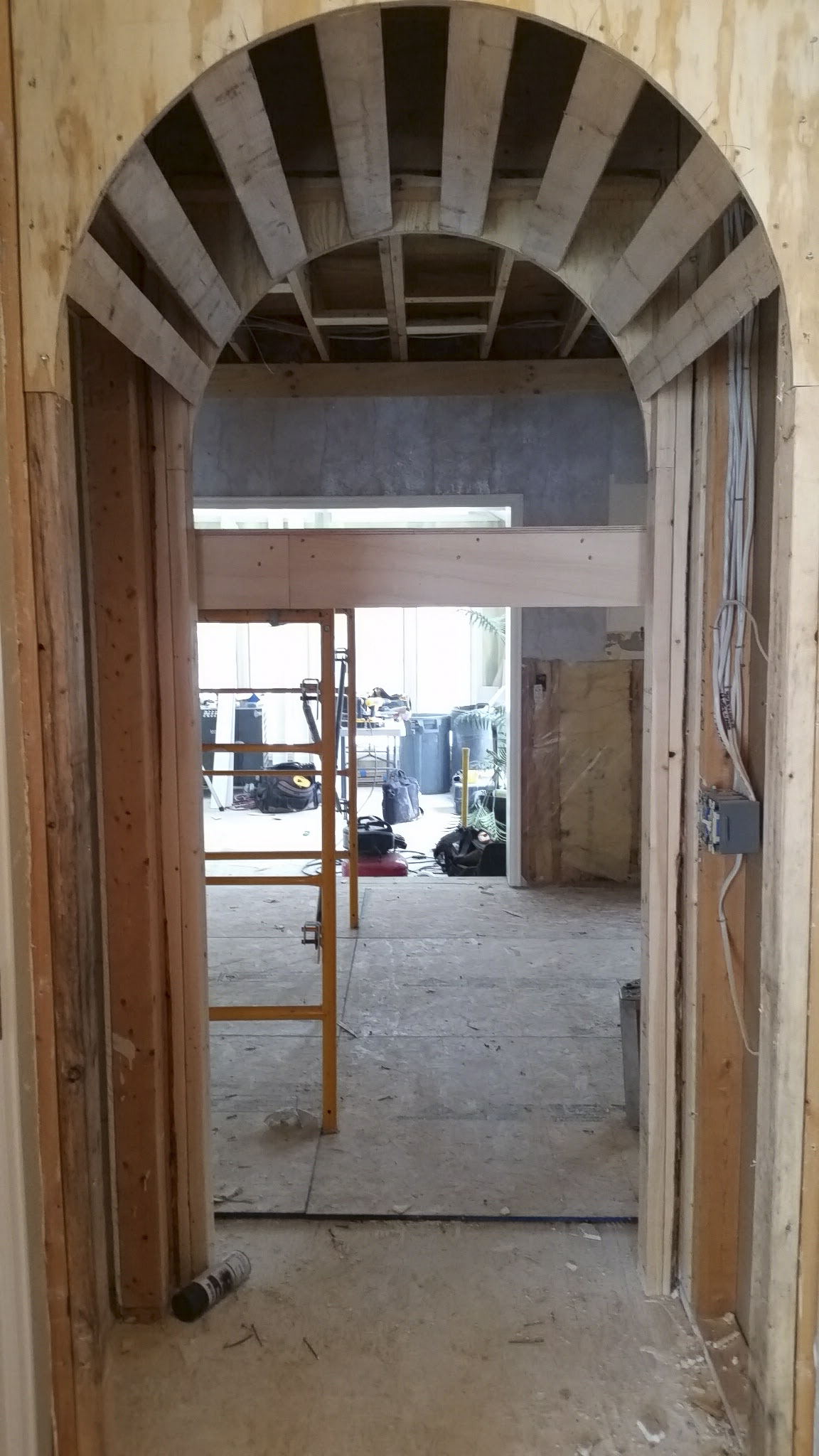 Arched opening framed.