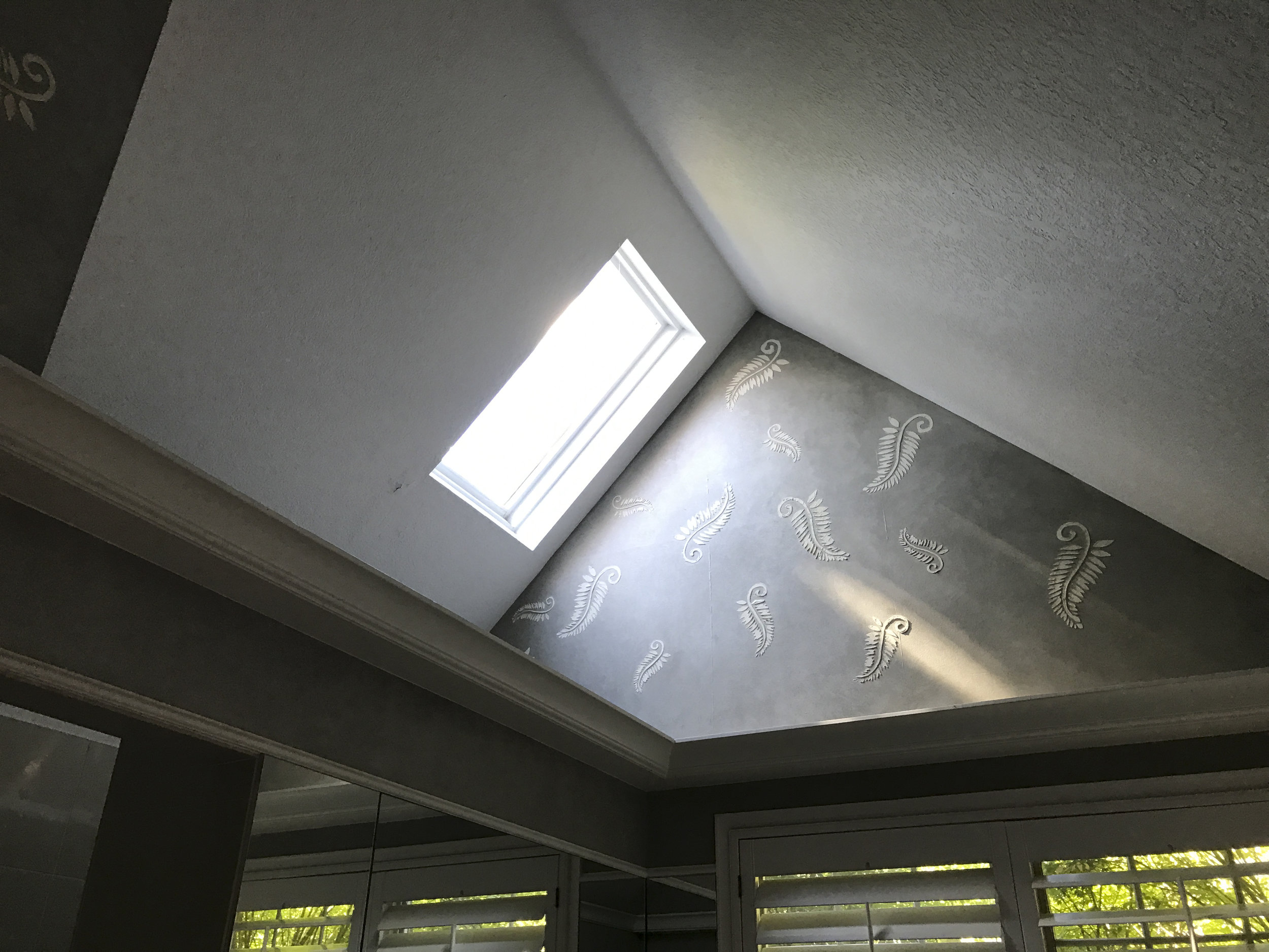 Existing, master bath skylight.  This area will framed to create a ceiling for the shower and project the light shaft to new bathing area.