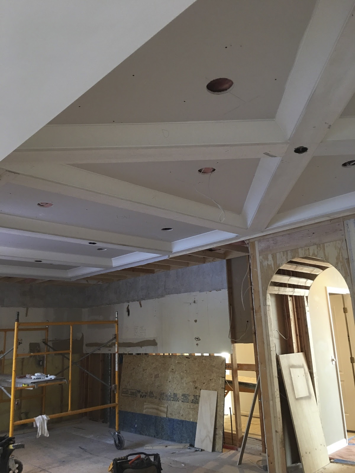 Coffered ceiling complete and awaiting wiring.