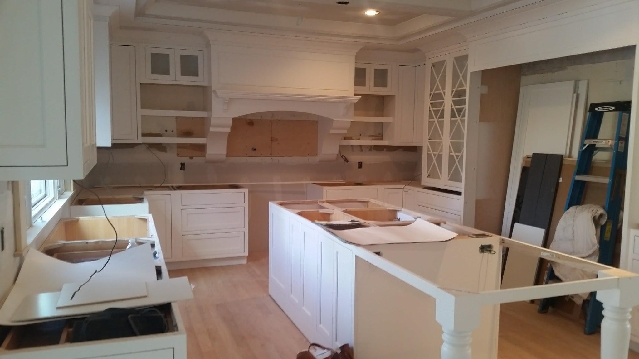 Kitchen cabinets installed.