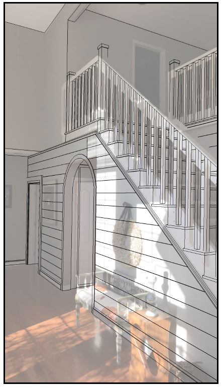 Shiplap foyer and stairwell walls with open-tread stairway concept  Arched, cased opening introduced.  Image overlay.