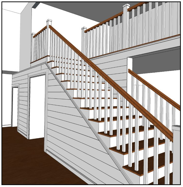 Shiplap foyer and stairwell walls with open-tread stairway concept.
