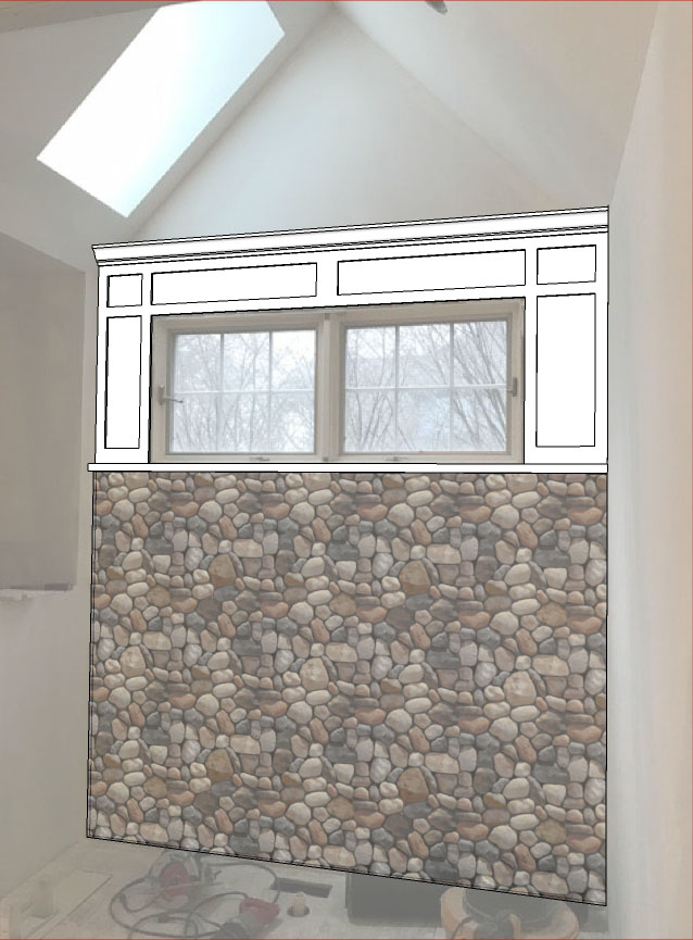Master bath window casing and pebble wall concept.