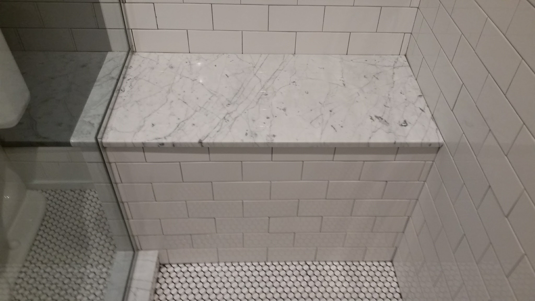Tiled shower seat