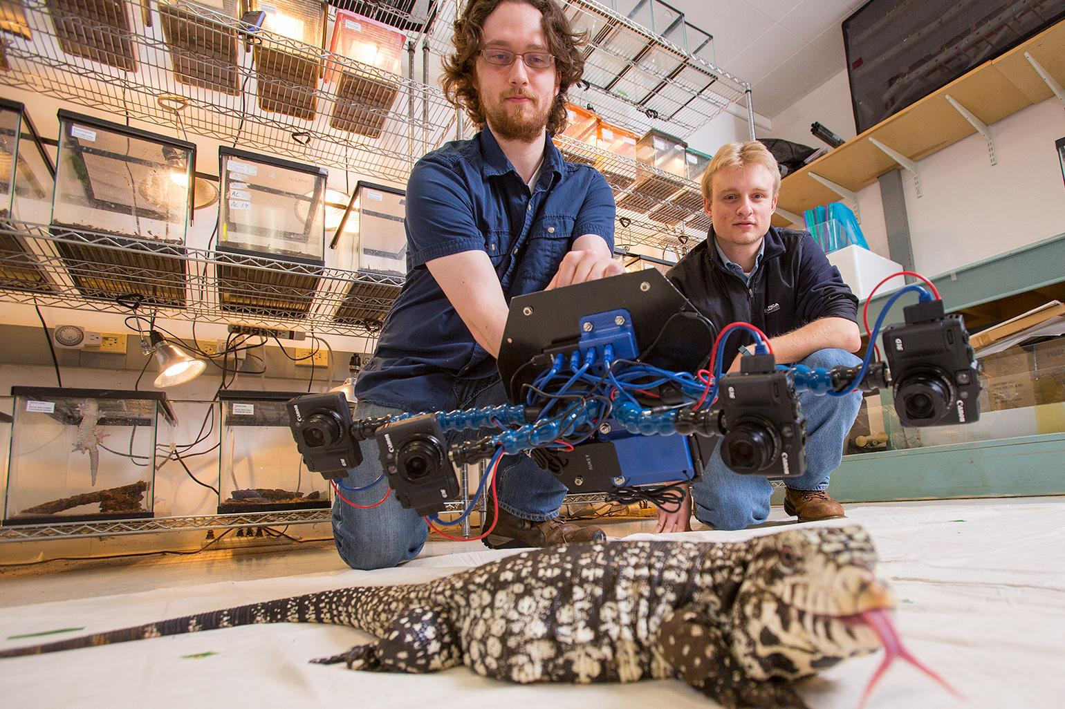 The original Beastcam - UMASS Amherst undergraduates Dylan Briggs and Kasey Smart are shown taking images of a Tegu using the original handheld Beastcam.