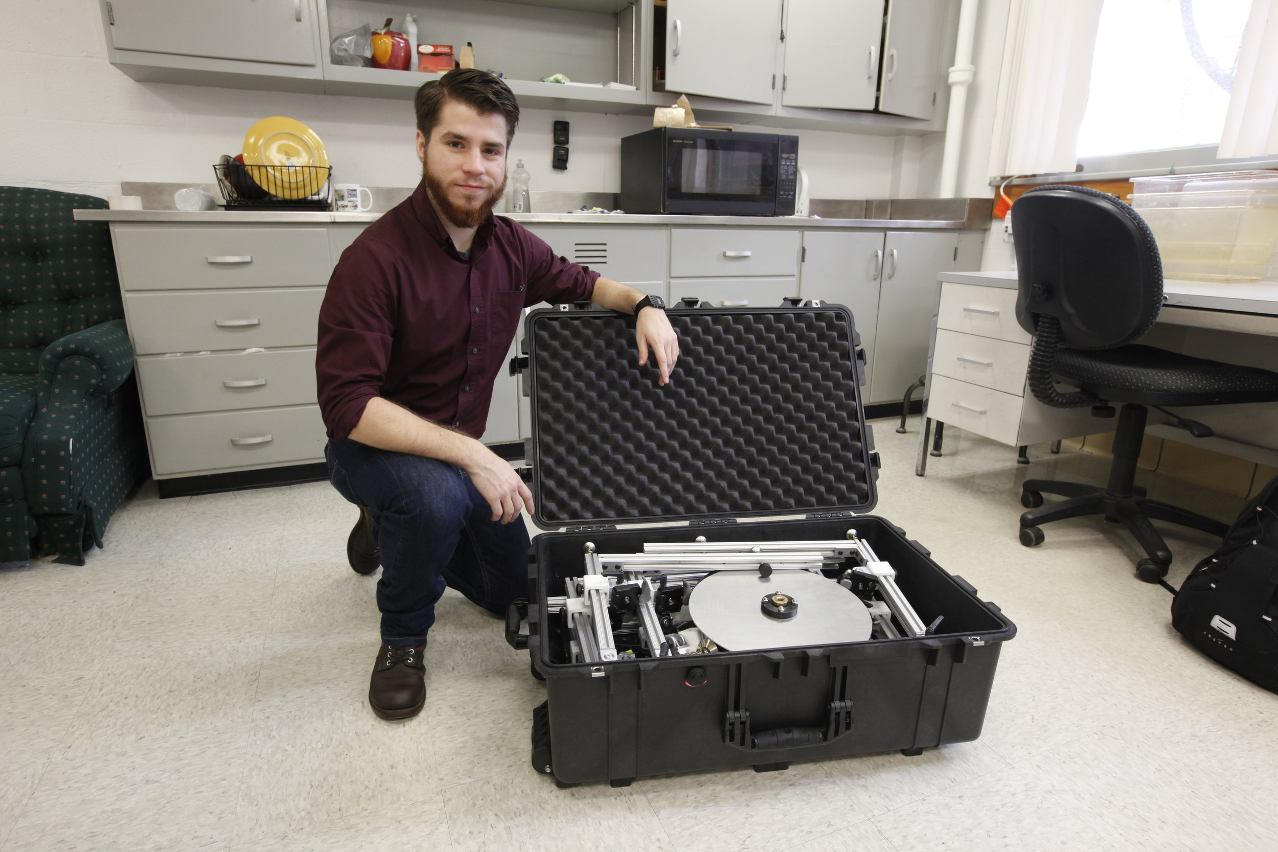 All of the Beastcam technology is designed to be field-portable, and can be easily transported in cases, such as the one shown here with UMASS undergraduate Zachary Corriveau
