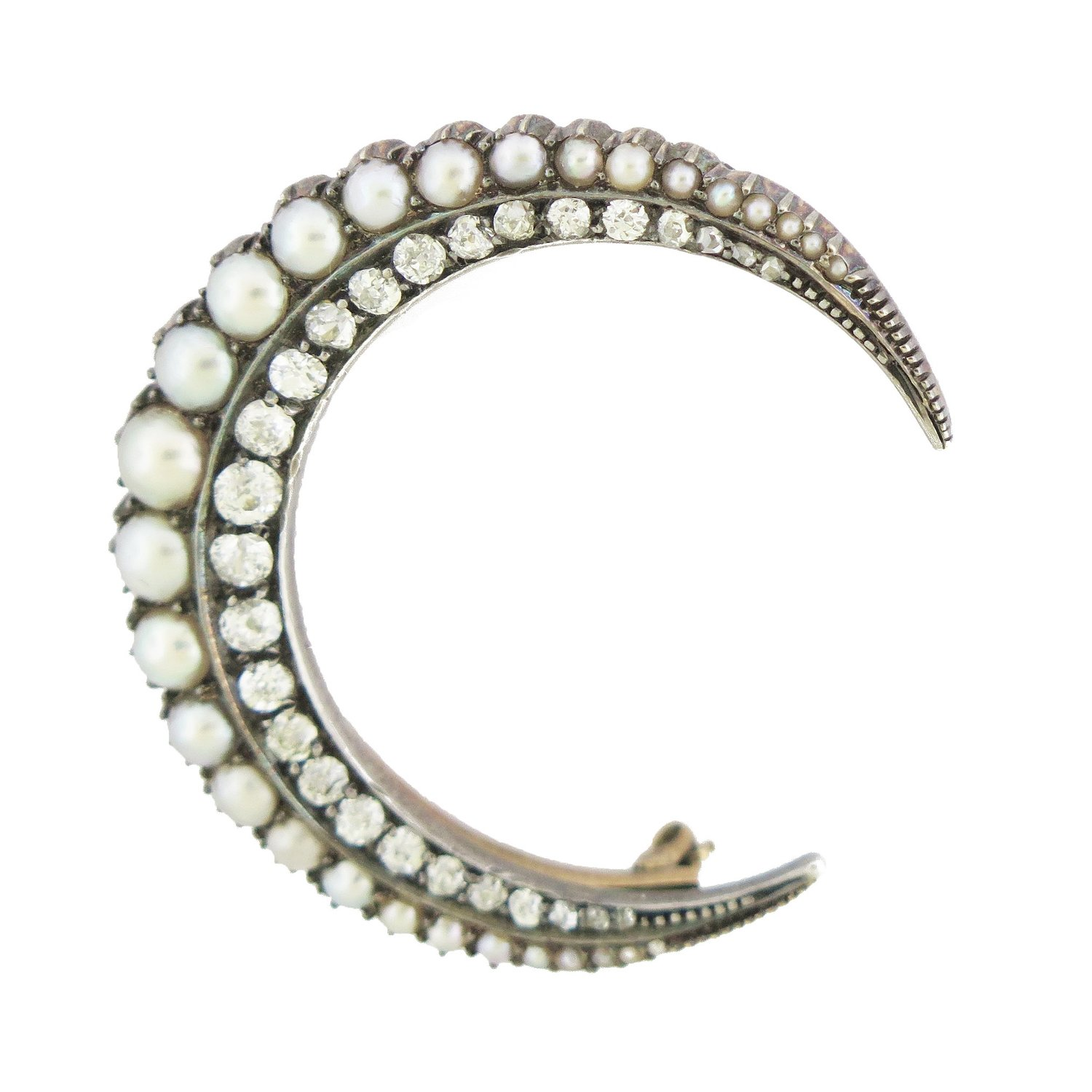 Pearl and Diamond Crescent Moon Large Brooch