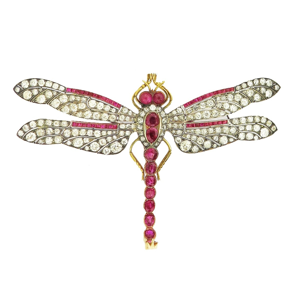 Antique Ruby and Diamond Dragonfly Brooch