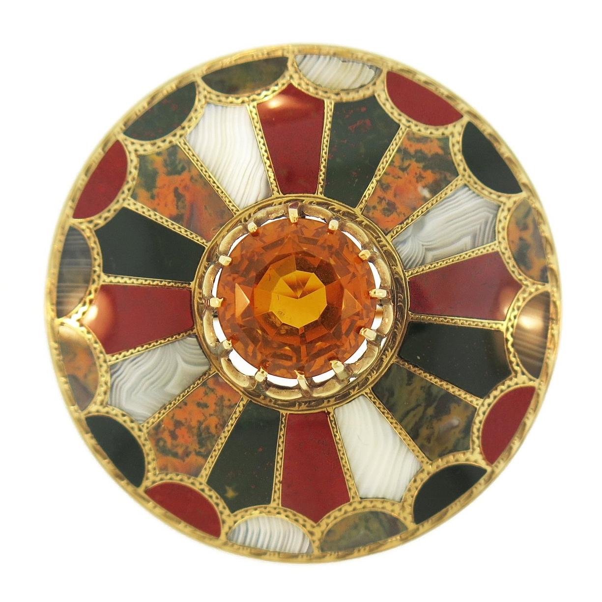 Scottish Agate and Citrine Gold Brooch