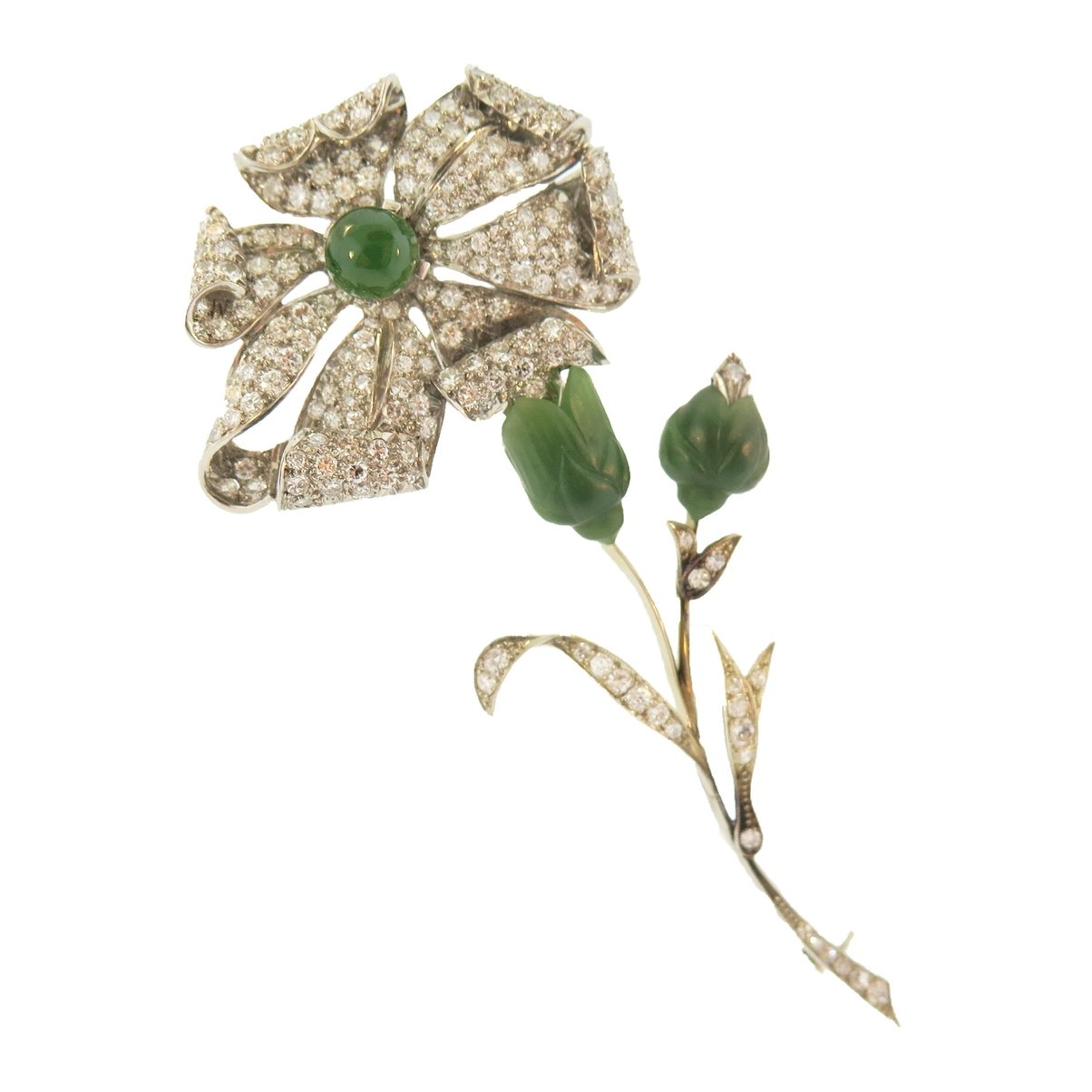Diamond and Nephrite Jade Floral Brooch