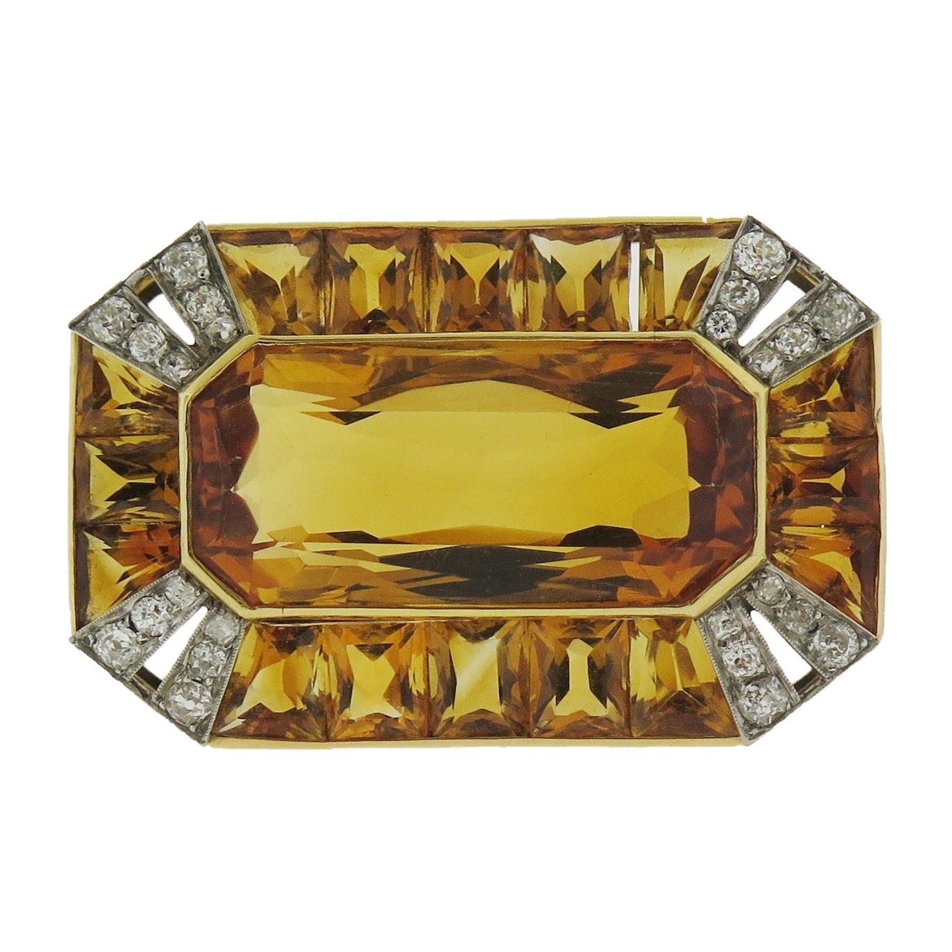 Art Deco Citrine and Diamond Brooch