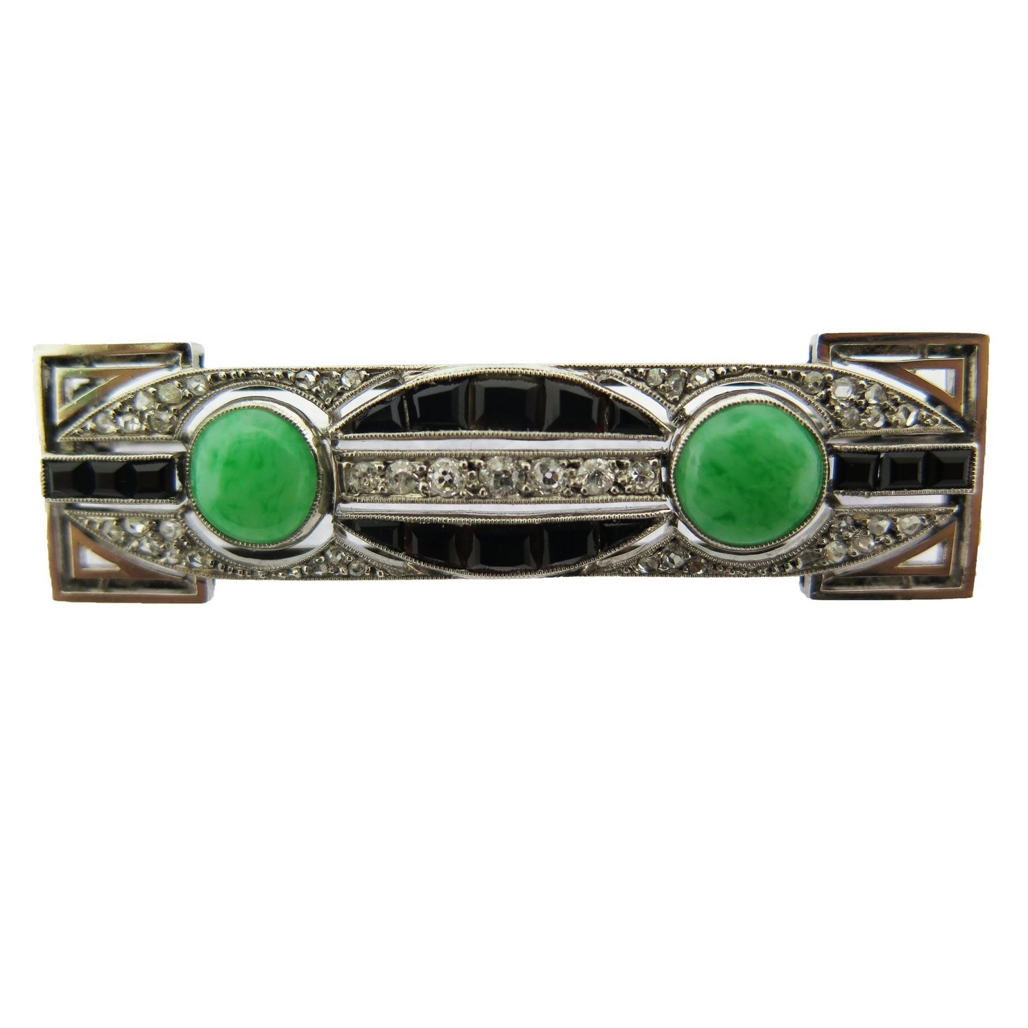 Art Deco Diamond, Onyx, and Jade Bar