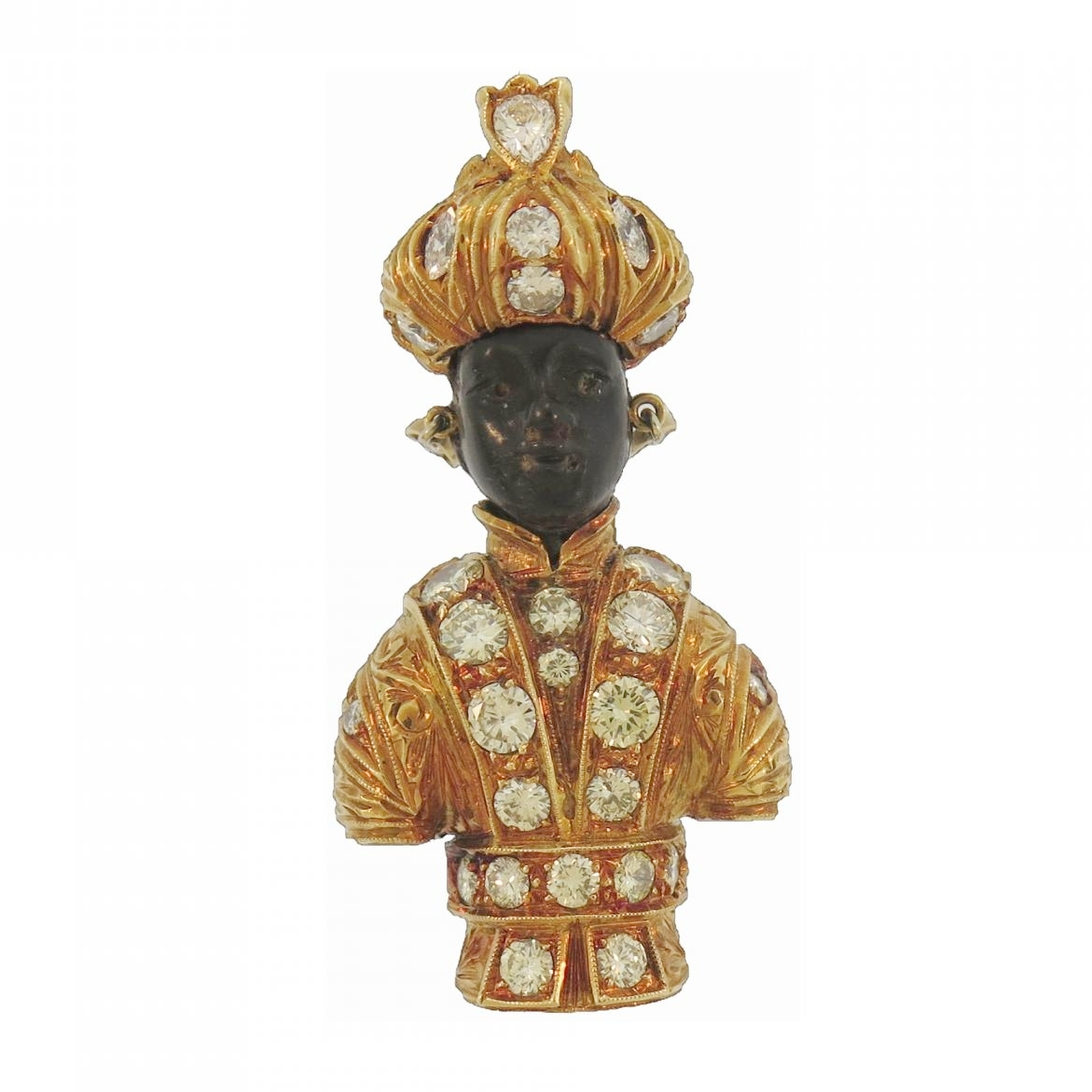 Nardi Blackamoor Diamond Gold Brooch