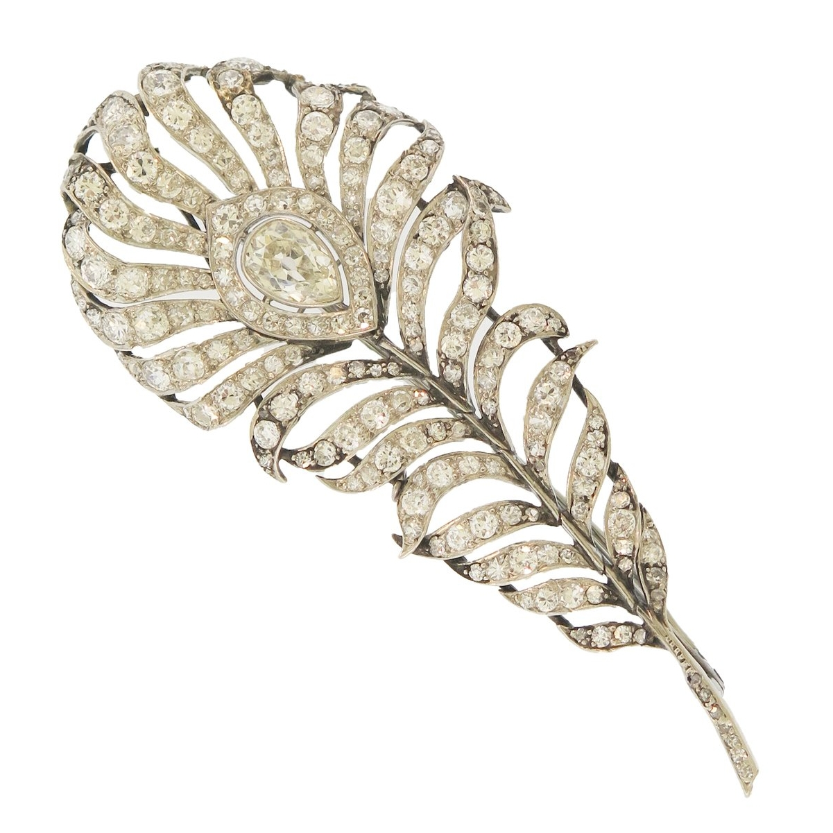 Antique Diamond Feather Brooch