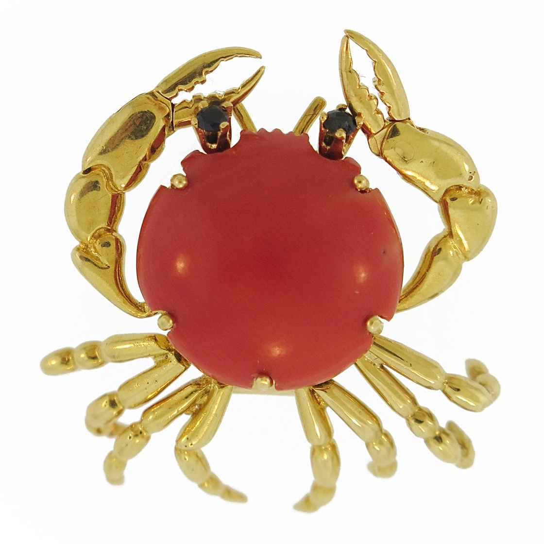 Mellerio Coral and Gold Crab