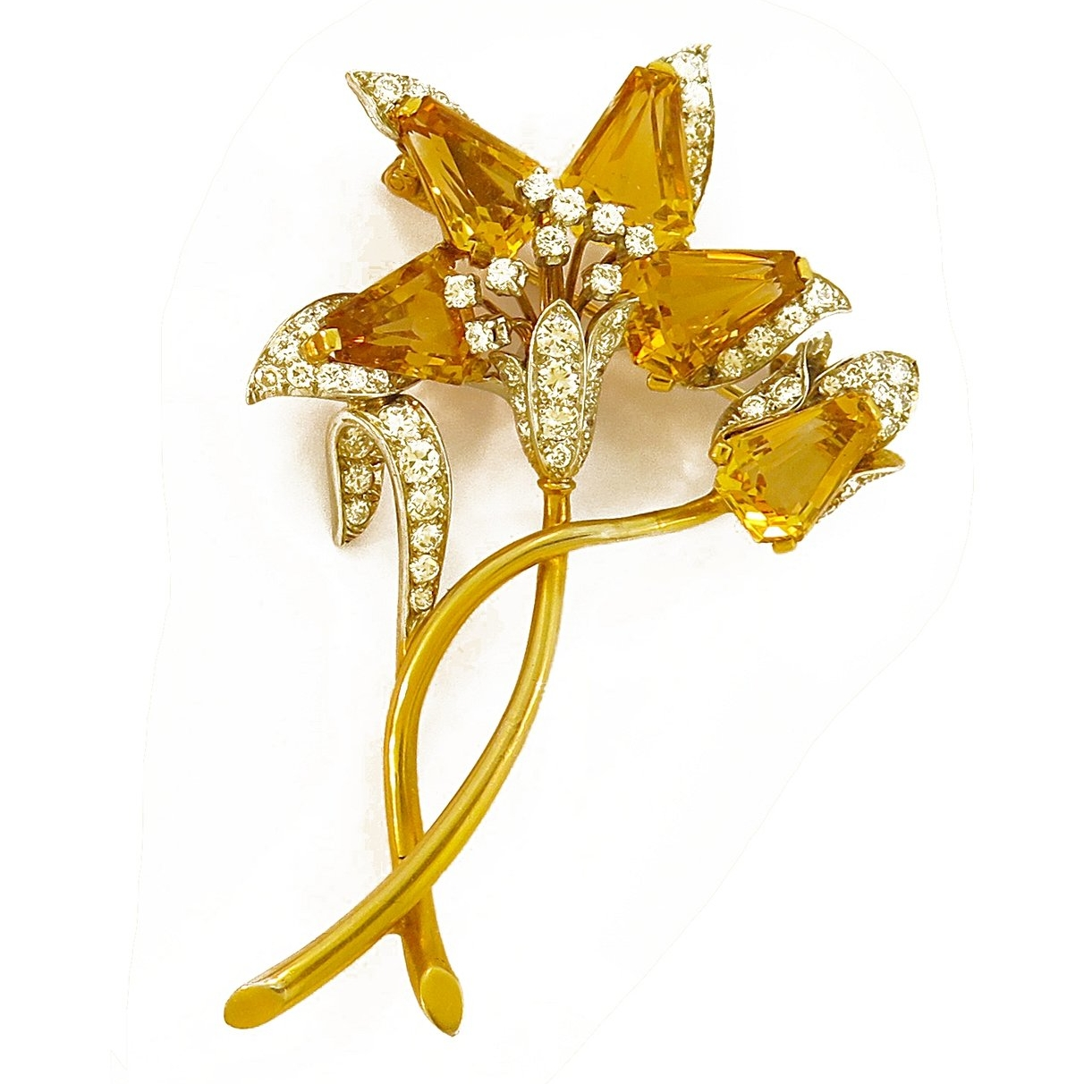 1960s Citrine and Diamond Flower