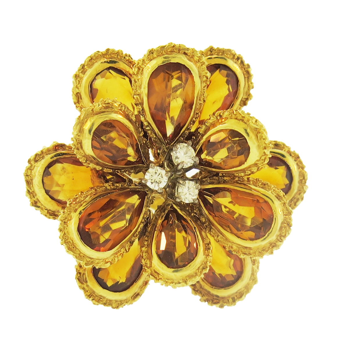 Tolero Flower Citrine and Gold Ring
