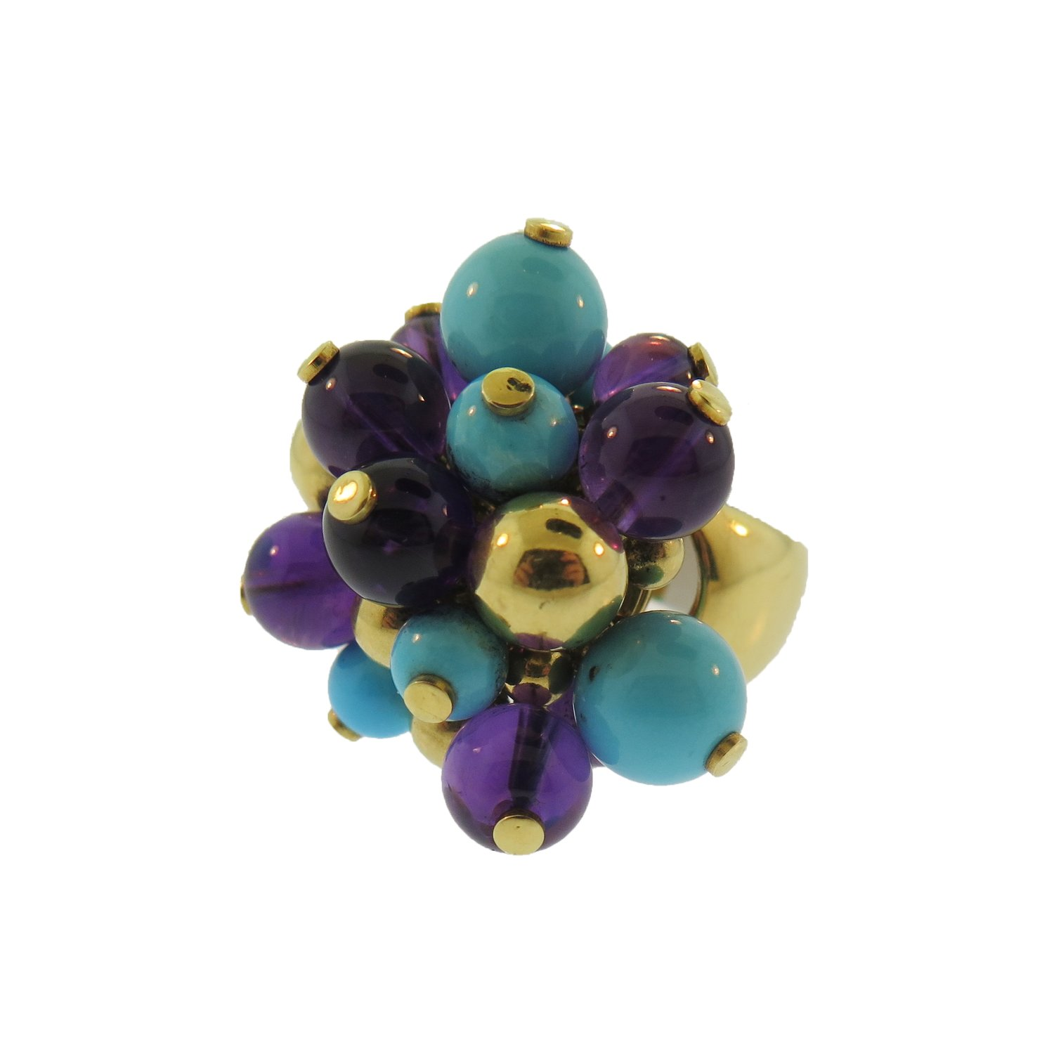 Amethyst and Turquoise Bubble Gold Ring