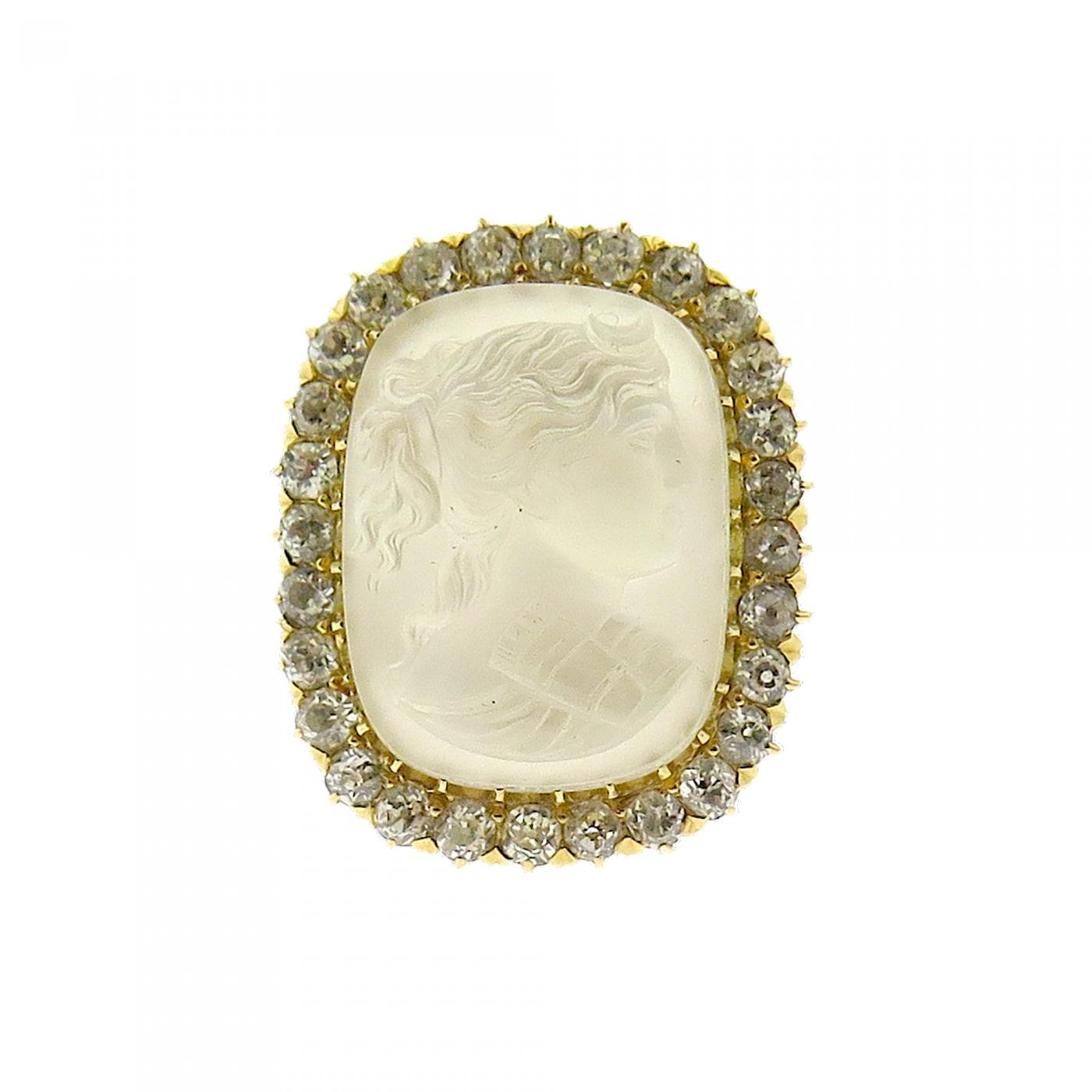 Edwardian Carved Moon Stone Ring