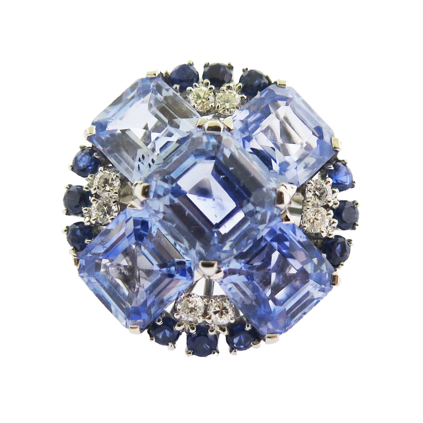 Oscar Heyman Sapphire and Diamond Platinum Cocktail Ring