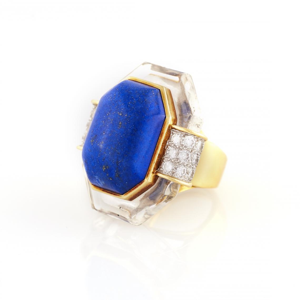 David Webb Lapis, Rock Crystal, and Diamond Gold Ring