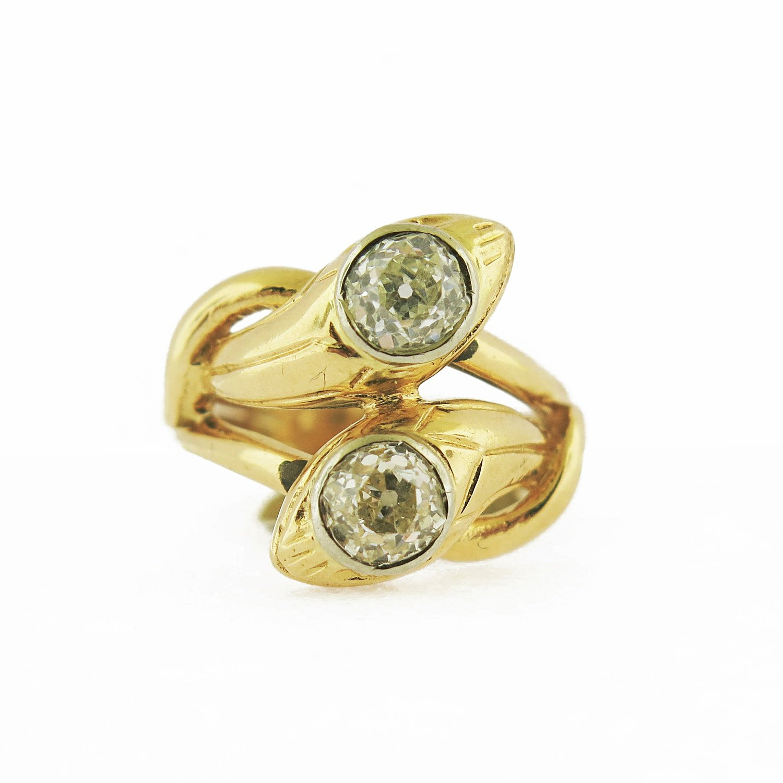 Late 19th Century Double Head Snake Diamond Ring