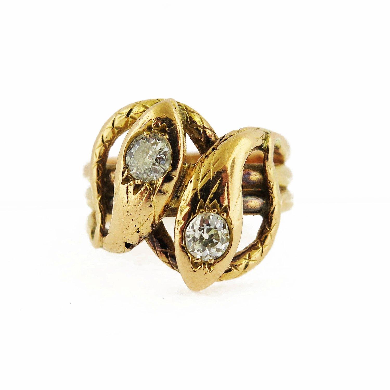 Late 19th Century Diamond Double Head Snake Textured Ring