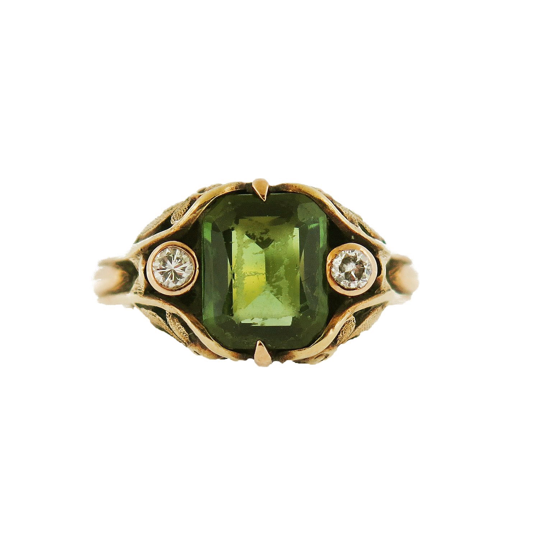 Art Nouveau Tourmaline and Diamond Ring