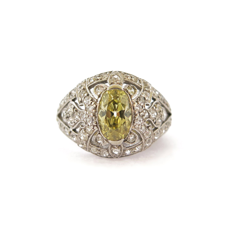 Edwardian Natural Yellow Diamond Ring