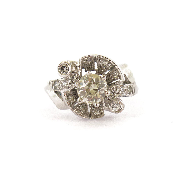 1950s 0.75 ct Diamond Swirl Ring
