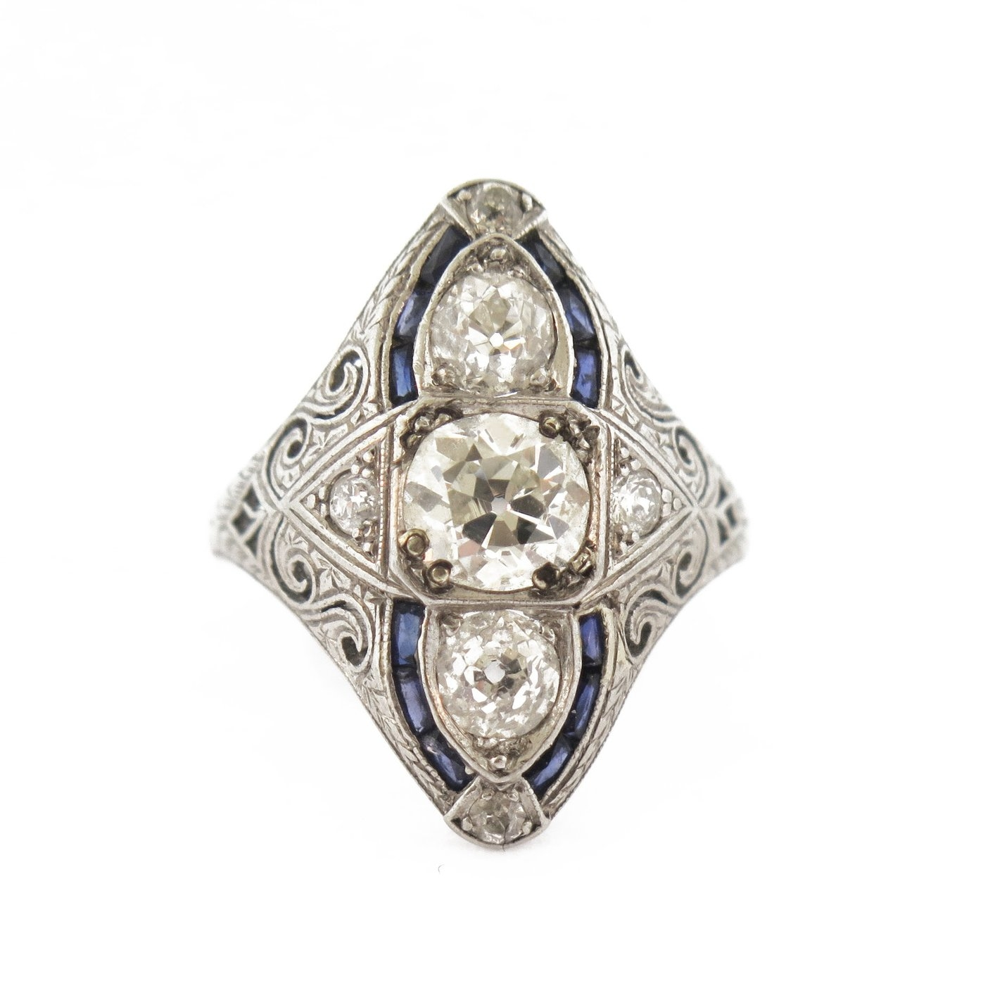 Navette Diamond Ring with Sapphires