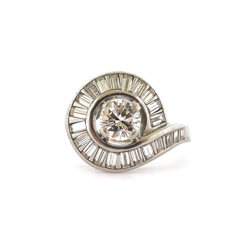 1950s Diamond Swirl Platinum Ring