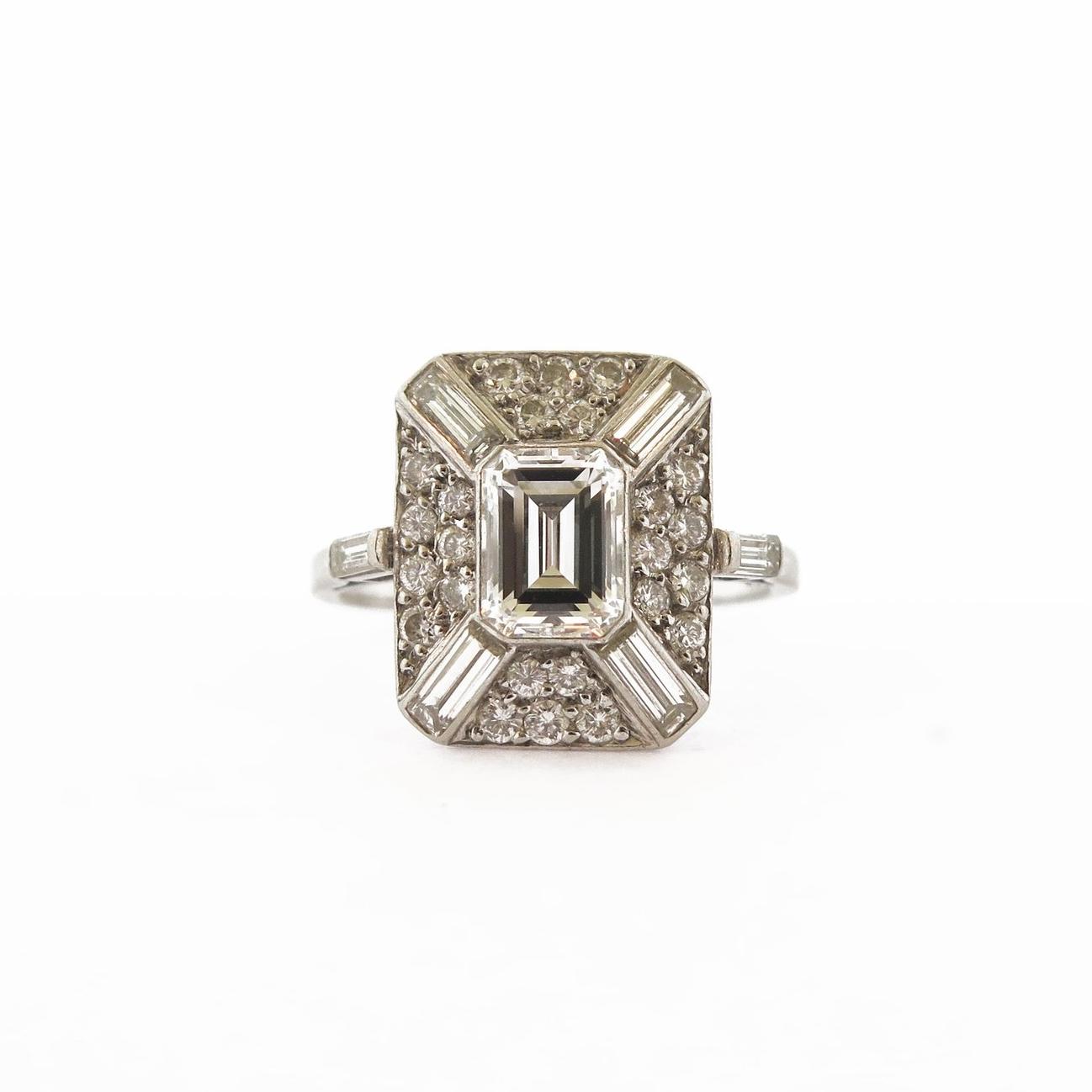 Art Deco Modified Asscher Diamond Ring